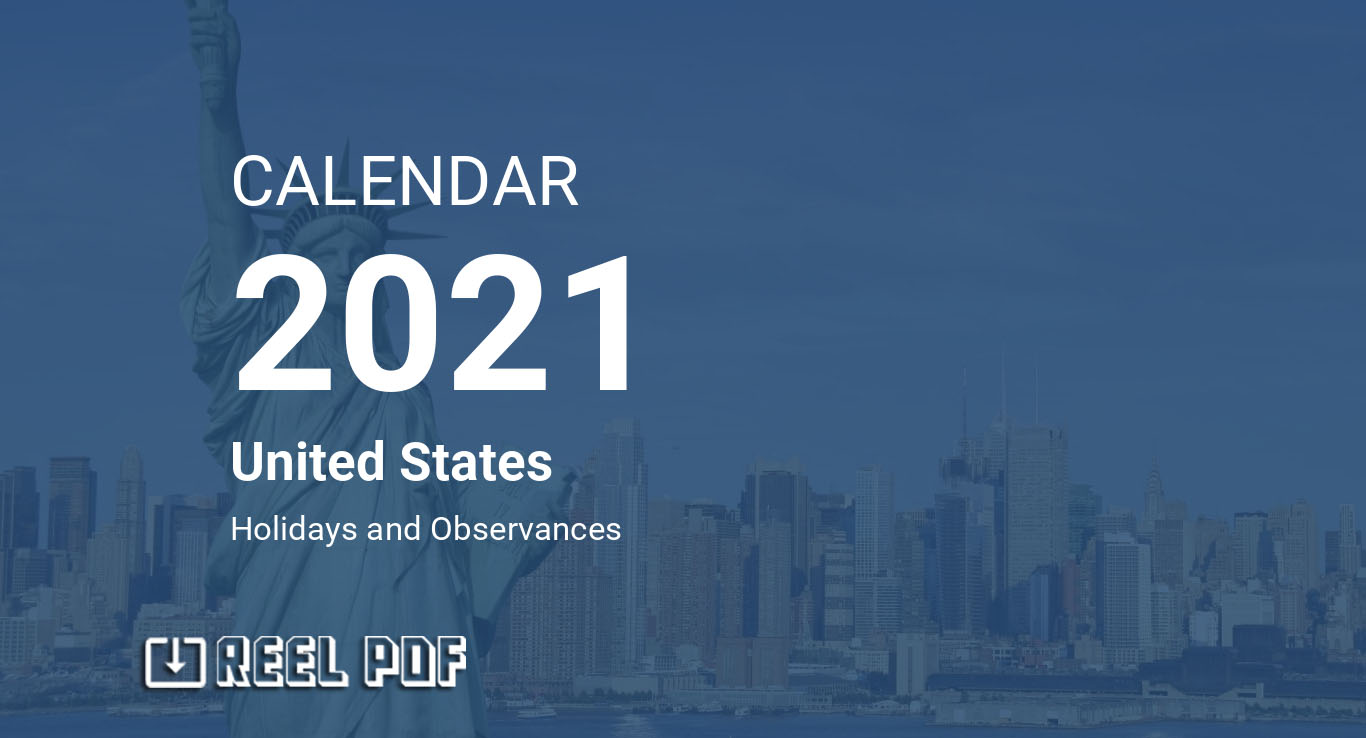 Calendar for Year 2021 (United States)